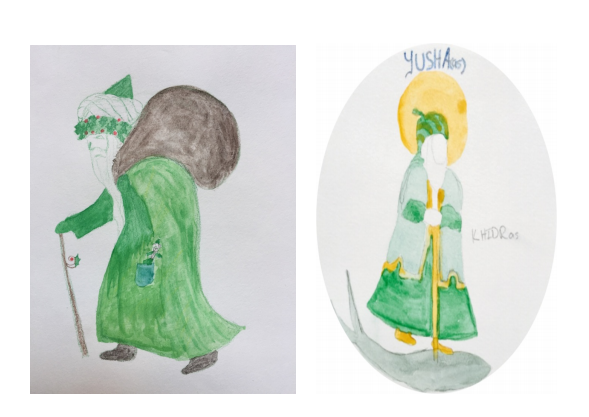 Illustrations by Elizabeth Bootman. Left: Santa. Right: Khidr.