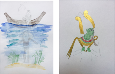 Illustrations by Elizabeth Bootman. Right: Scene from Epic of Gilgamesh. Left: Osiris depicted as green.