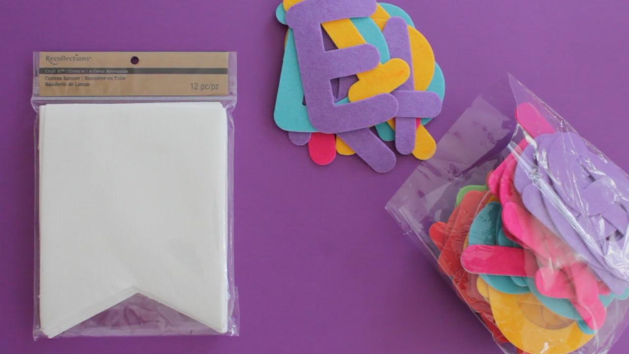 Materials needed for a DIY Eid Mubarak garland.