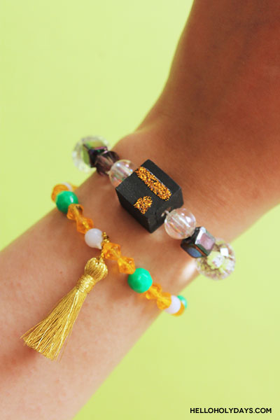 DIY Eid al Adha Jewelry by Hello Holy Days! Beaded Kaaba Bracelets!