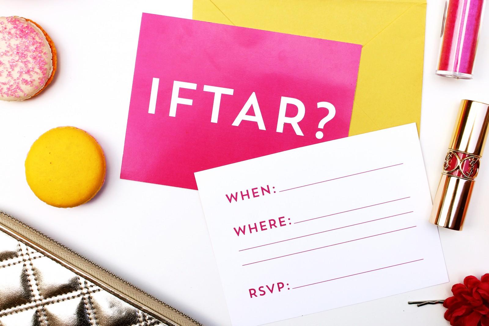 free ramadan printable neon iftar invitation
