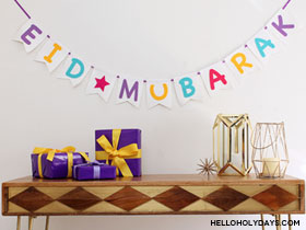 Craft tutorial for an easy Eid Mubarak garland.