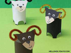 Paper tube ram craft for Eid al Adha